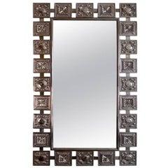 Midcentury Modern Nickeled Silver Textural Wall Mirror