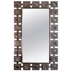 Vernickelter Silber Wandspiegel, Jahrhundertmitte