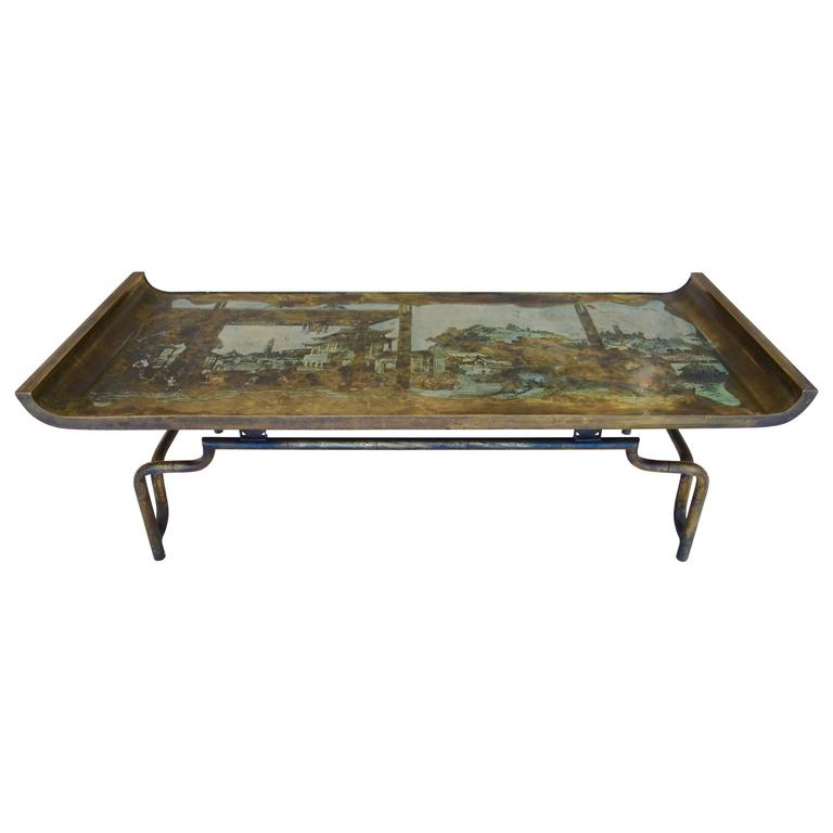 "Philip & Kelvin LaVerne Imperial Palace"" Bronze and Pewter Cocktail Table  For Sale"
