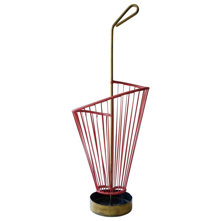 Mid-Century Modern Umbrella Stand in Red Rubber with Brass Metalwork
