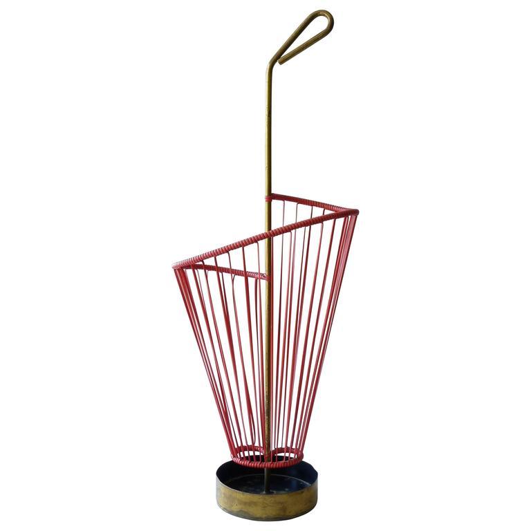 mid-century modern umbrella stand in red rubber with brass metalwork Modern Umbrella Stand