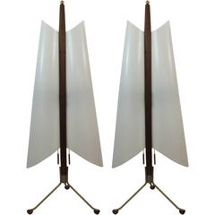 Pair of Modernist Angular Space Age Sculptural Lamps