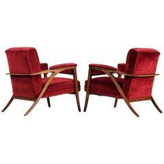 Pair of Italian Armchairs in Red Velvet Upholstery