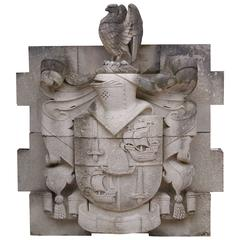 Huge Carved Portland Stone Armorial Crest / Plaque