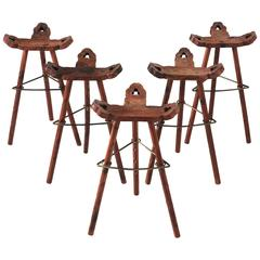 Set of Five Spanish Bar Stools in Solid Pine