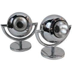 Pair of Chrome Swivel Ball Lamps