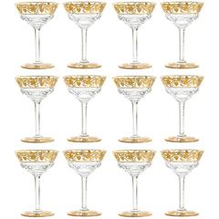 "12 Val Saint Lambert ""Pampre D'or Champagne Glasses"