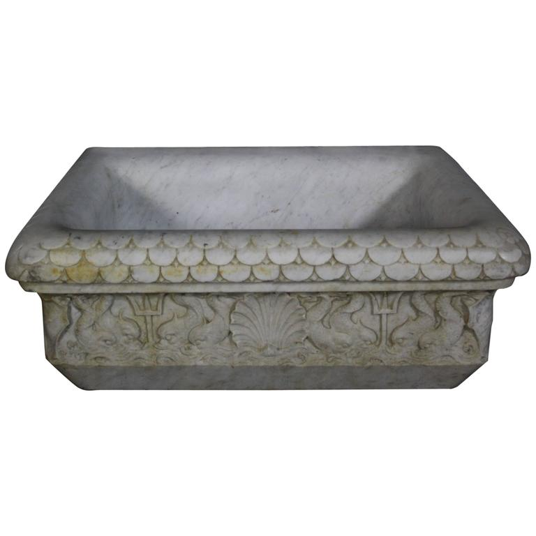 Carved Stone Sink : 19th Century Italian Carved Marble Basin or Sink at 1stdibs