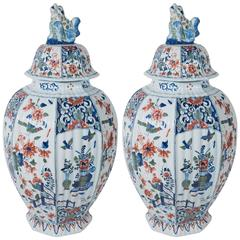 Pair of Dutch Delft Vases Painted in the Polychrome Kashmir Palette