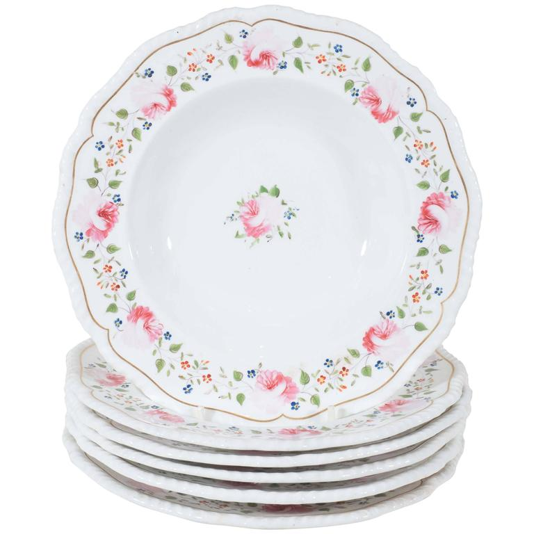 Antique Staffordshire Soup Dishes Decorated with Pink Roses For Sale