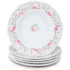 Antique Staffordshire Soup Dishes Decorated with Pink Roses