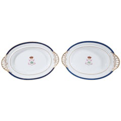 Antique Irish Armorial Dishes with the Arms of the Family of Perceval circa 1870
