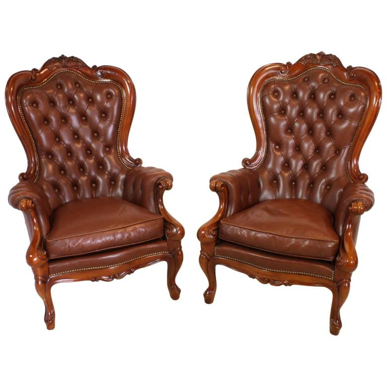 Set Of Two Victorian Style Mahogany Leather Chairs Circa 1920 At