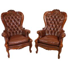 Set of Two Victorian Style Mahogany Leather Chairs, circa 1920