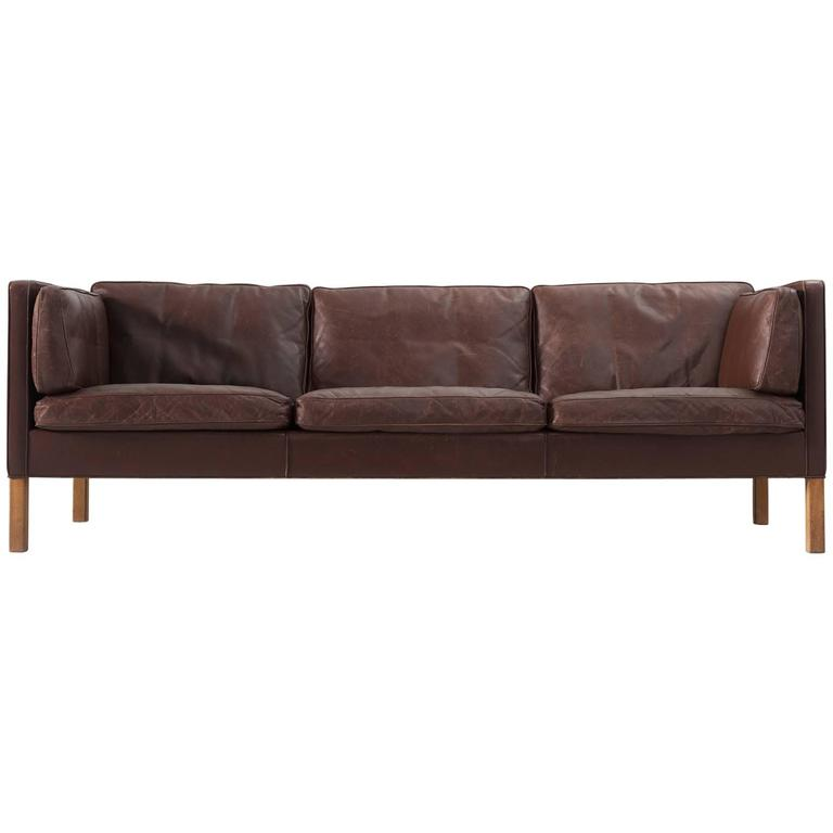 Borge Mogensen Sofa 2443 In Dark Brown Leather For