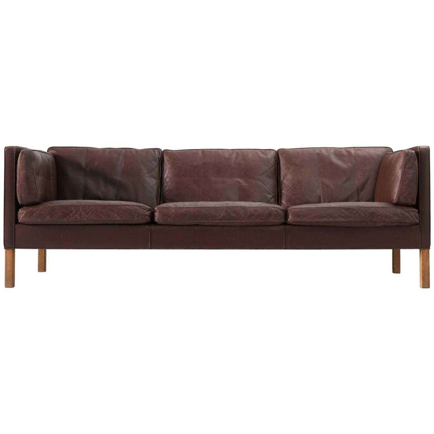 French Mid Century Chesterfield Sofa in dark brown For Sale at 1stdibs