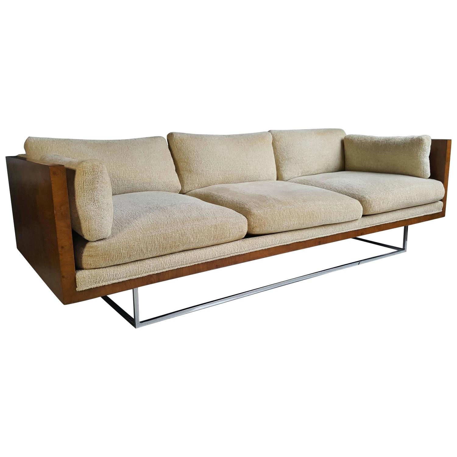 stunning milo baughman floating burl and chrome tuxedo casesofa at 1stdibs