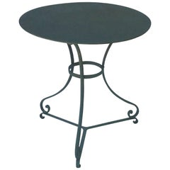 French Green-Painted Round Café or Bistro Table
