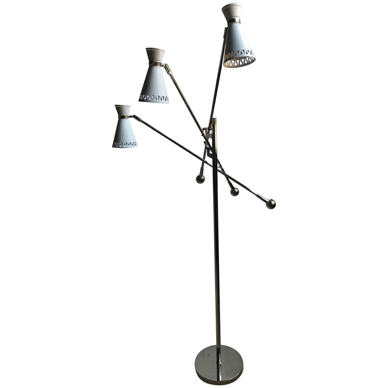 modern three arm task floor lamp at 1stdibs. Black Bedroom Furniture Sets. Home Design Ideas