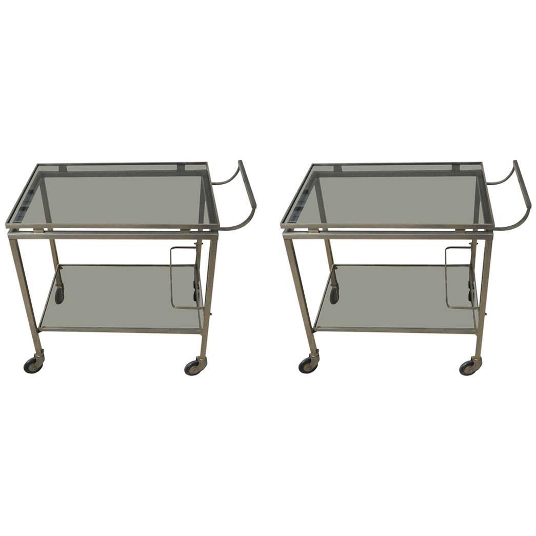 Guy Lefevre For Maison Jansen Bar Cart Chrome & Glass French Mid-Century Modern
