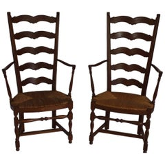French Country High Ladder Back Armchairs, circa 1900
