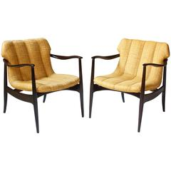 Vintage Pair of Walnut Armchairs by Bertha Schaefer for Singer & Sons, 1960s