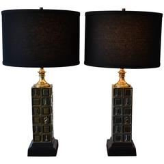 Pair of Brass Chess Piece Table Lamps by Laurel, 1950s