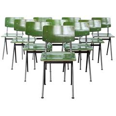 Set of Ten Rare Factory Green Industrial Prouvé Style Compass Chairs by Marko