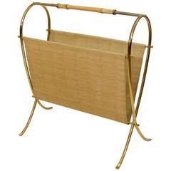 Brass and Bamboo Magazine Rack