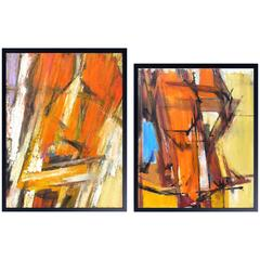 Pair of Vibrant, 1970s Abstract Paintings