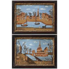 Pair of Rare Dutch Straw Work and Gouache Pictures, 18th Century