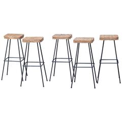 Five Basket Bar Stools Perriand Style, France, 1958