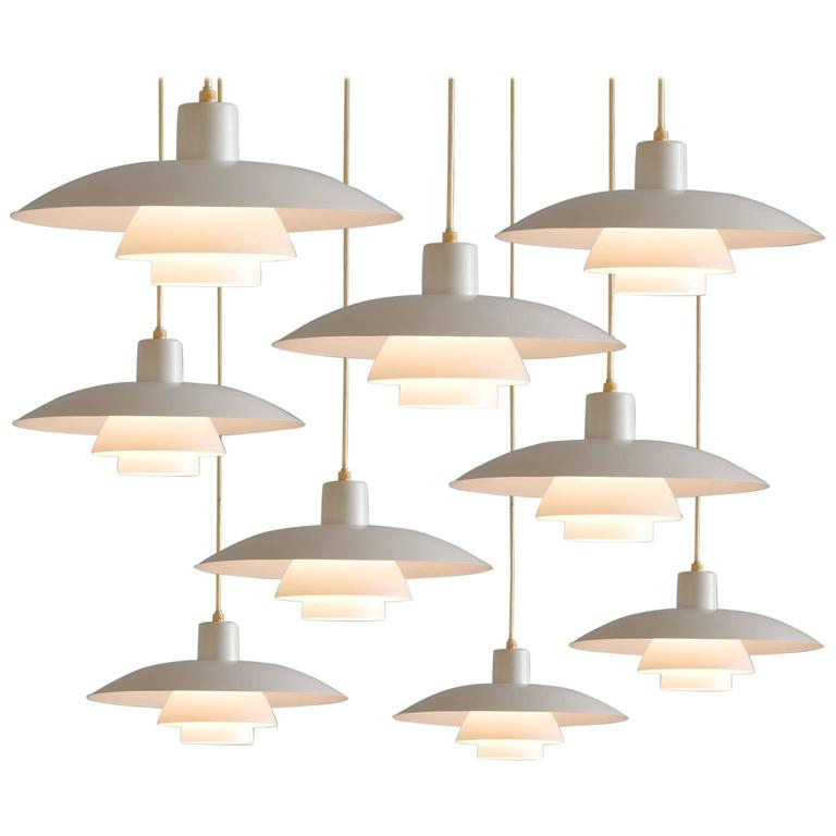 poul henningsen set of 6 ph 4 3 pendants for louis poulsen at 1stdibs. Black Bedroom Furniture Sets. Home Design Ideas
