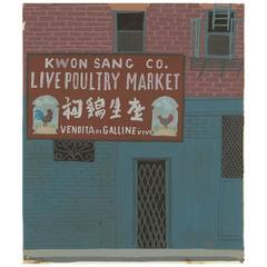 "Witold Gordon Gouache ""Poultry Market - Vanity Fair"""