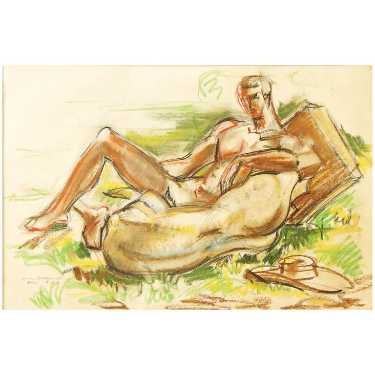 """""""Male Nude with Sculptural Fragment,"""" Important Depiction of Fred McDarrah For Sale"""
