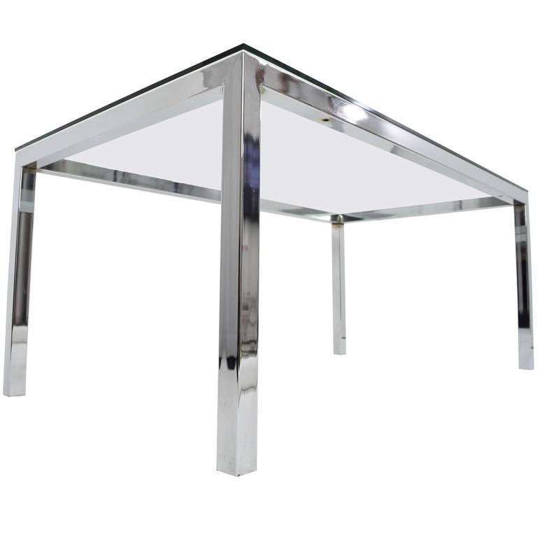 Milo Baughman Chrome and Glass Dining Table/Desk