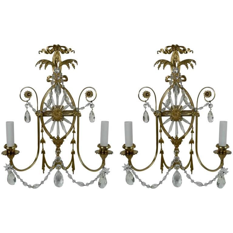 Pair of E. F. Caldwell Cut Crystal and Brass Two-Light Sconces For Sale