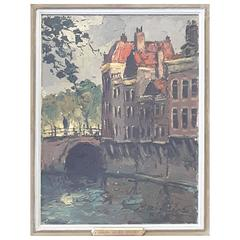 Gerhard Cohn Roemers Painting, Oil on Canvas, Canal Scene Near Grote Market