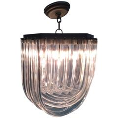 Chandelier in Layered Ribbed Lucite
