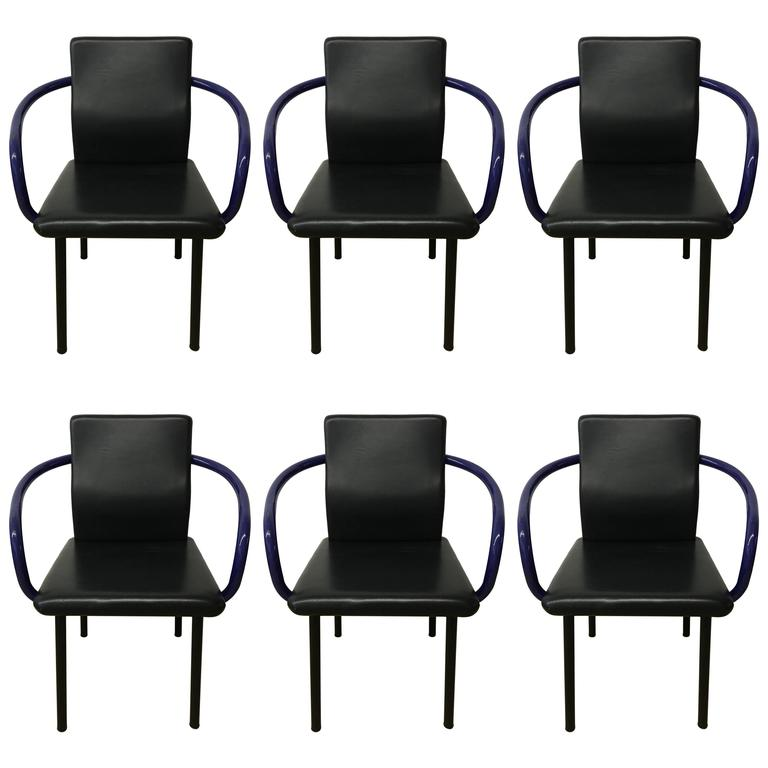 Set of Six Mandarin Chairs Designed by Ettore Sottsass for Knoll, 1986 For Sale