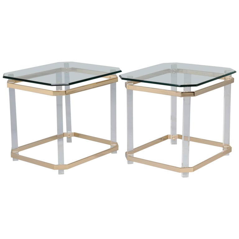 Pair Mid Century Lucite Brass and Glass Side Tables For Sale