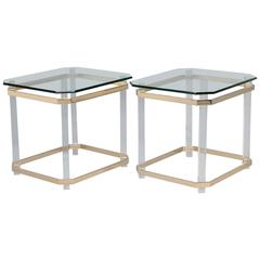 Pair Mid Century Lucite Brass and Glass Side Tables