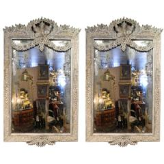 Pair of Painted French Mirrors with a Decorative Bow, Early 20th Century