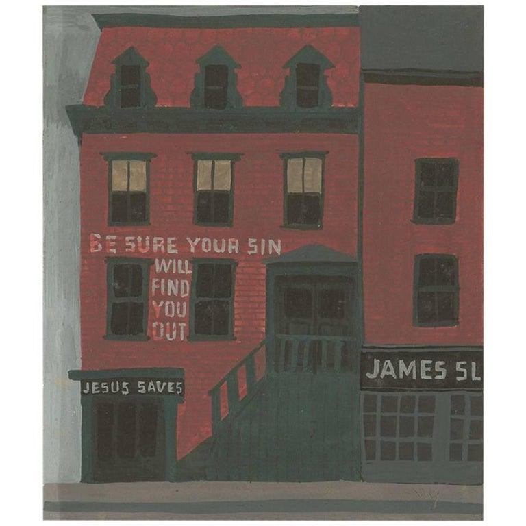 Witold Gordon Gouache, Jesus Saves, Vanity Fair For Sale