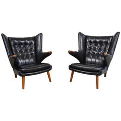 Hans Wegner Pair of Papa Bear Chairs in Black Leather