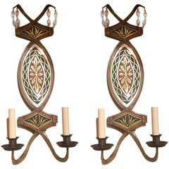 Pair of Églomisé Mirror Sconces