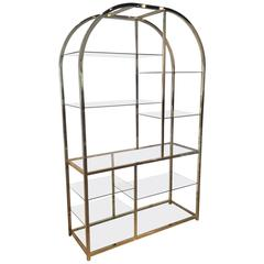 Design Institute of America DIA Milo Baughman Vintage Messing Etagere Regal