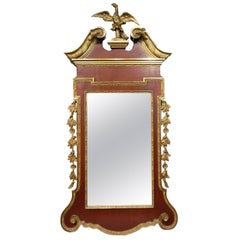 George II Style Mahogany and Gilt Mirror and Phoenix Finial, 19th Century