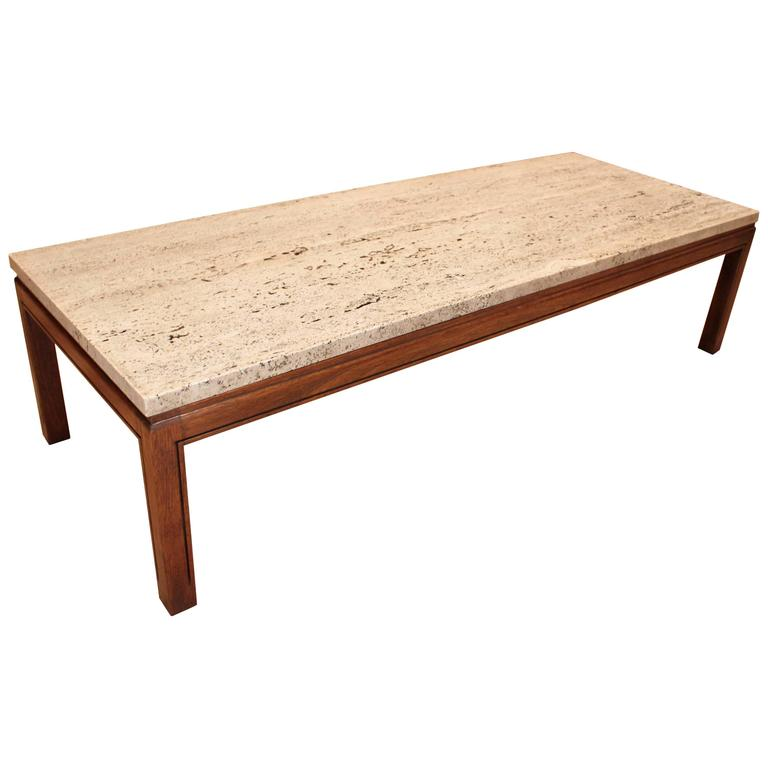 1950s Mid-Century Walnut And Travertine Coffee Table At