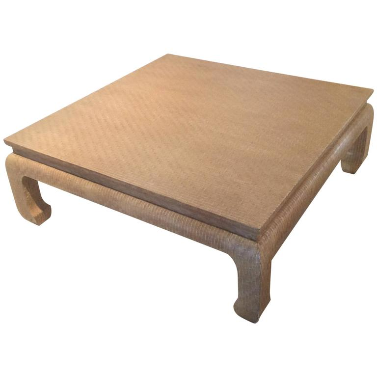 baker furniture grasscloth linen wrapped vintage coffee cocktail table